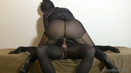 Pantyhose cock couple