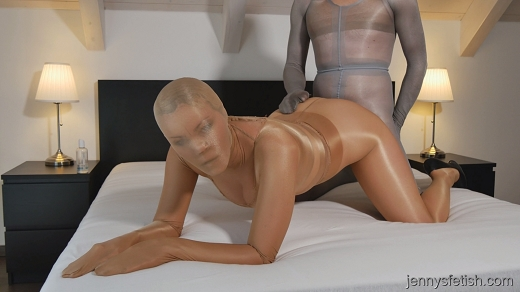 Men encased in pantyhose