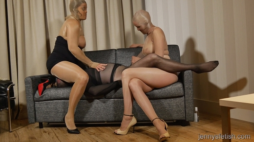 Pantyhose encasement two girls same pair